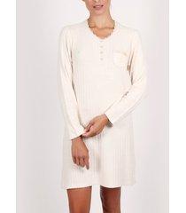 pyjama's / nachthemden admas nachthemd met lange mouwen zacht woud ivoor adma's