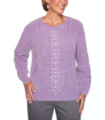 alfred dunner petite loire valley canter embroidered chenille sweater