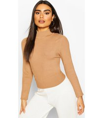 rib knit turtle neck top, camel