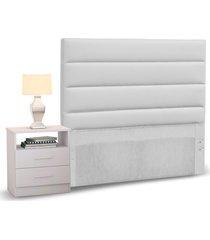 cabeceira cama box solteiro 90cm greta corano branco e 1 mesa de cabeceira branco - mpozenato - unico - dafiti