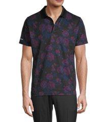 bonobos men's slim-fit floral-print golf polo - black rose - size l