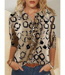 camicetta a maniche lunghe con colletto alla coreana stampata vintage per donna