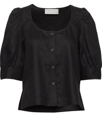 sim top blouses short-sleeved zwart fall winter spring summer