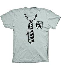 camiseta lu geek manga curta gravata prata