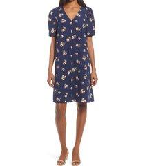 women's chelsea28 floral puff sleeve v-neck shift dress, size medium - blue