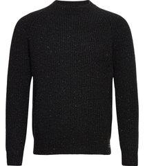 tweed rib crew gebreide trui met ronde kraag zwart superdry