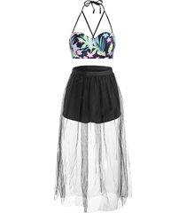 flower push up sheer mesh skirted bikini swimwear