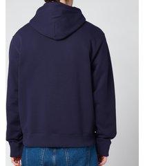 kenzo men's tiger crest classic hooded sweatshirt - navy blue - xxl