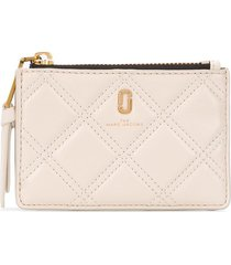 marc jacobs the quilted softshot top zip multi wallet - white