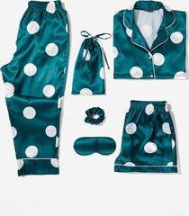 womens my spotlight 6-pc satin polka dot pajama set - emerald