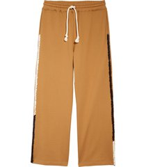 jw anderson contrast stitch wide leg track pants, size small in tobacco at nordstrom