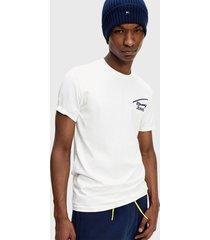 polera tommy jeans tjm stretch chest logo tee blanco - calce regular