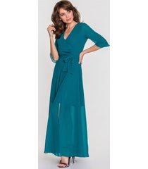 turkusowa sukienka maxi