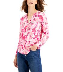 inc cotton printed zip-pocket top, created for macy's