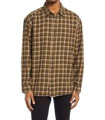 men's bp. long sleeve check flannel shirt, size xx-large - green