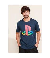 camiseta masculina playstation manga curta gola careca azul marinho
