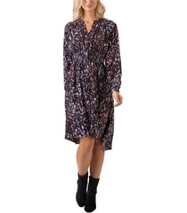 black label women's plus size printed high-low button front long sleeve dress