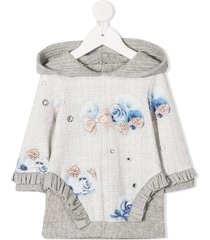 lapin house floral long-sleeve jumper dress - grey
