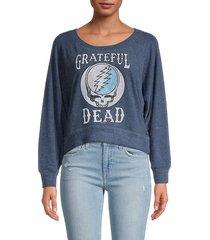 chaser women's graphic pullover sweatshirt - avalon - size s
