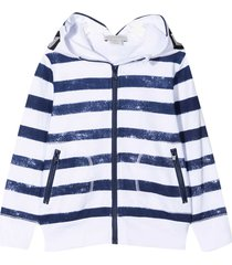 stella mccartney kids white sweatshirt with blue stripes