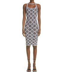 isa boulder wafer knit body-con dress, size x-large in black /white at nordstrom