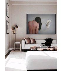 kobieta z białym ptakiem - obraz lub plakat