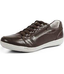 sapatênis conforto calce fácil couro por dentro e por fora pierrô cor marrom