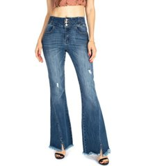 kancan women's high rise stone flare jeans