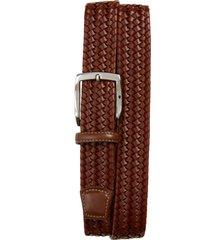 men's torino woven leather belt, size 46 - cognac
