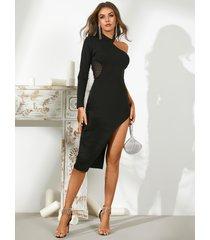 yoins vestido negro a media pierna con dobladillo con abertura en un hombro