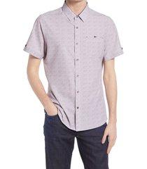 men's 7 diamonds painted memory short sleeve performance button-up shirt, size medium - pink
