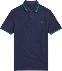 red perry m3600 twin tipped polo shirt - carbon blue & privet m3600-h27