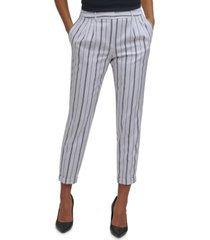 calvin klein petite stripe-print slim-fit ankle pants