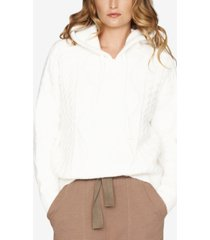 b new york cable-knit cropped hooded sweater