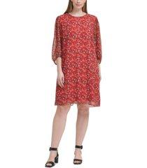 calvin klein plus size floral-print balloon-sleeve dress