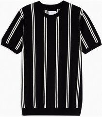 mens black and white stripe knitted t-shirt