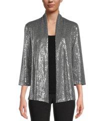 kasper petite metallic open-front blazer