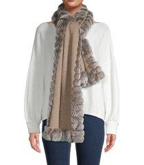 glamourpuss women's oblong rabbit fur scarf - taupe snow