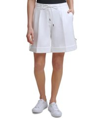 calvin klein tie-belt cuffed shorts