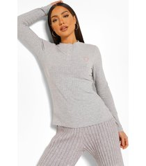 mix & match geribbelde candy cane pyjama top, grey