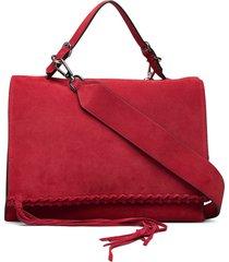 fringe satchel su bags top handle bags rood calvin klein