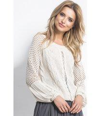 sweter z ażurowymi wstawkami