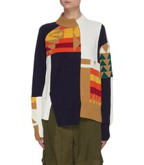 asymmetric hem pendleton archive print sweater