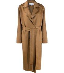 loewe belted oversized coat - brown