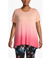 lane bryant women's active dip-dye strappy back tee 18/20 teaberry pink