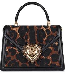 dolce & gabbana devotion handbag with metal maxi-logo