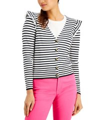 charter club striped ruffled cardigan, created for macy's