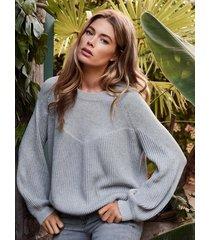 gebreide katoenen trui met pofmouwen