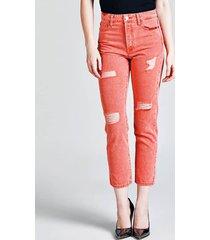 jeansy z pięciomia kieszeniami z przetarciami