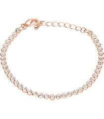 bracciale in metallo rosato e cristalli per donna